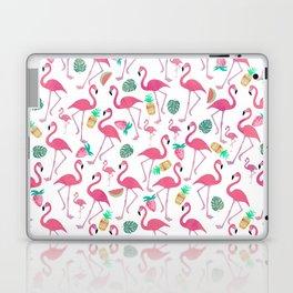 Tropical pink watercolor flamingo sweet summer fruit pattern Laptop & iPad Skin