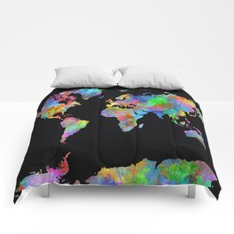 world map watercolor black 2 Comforters
