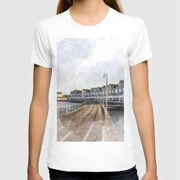 Rainbow Houses. Architectural watercolor and ink drawing T-shirt