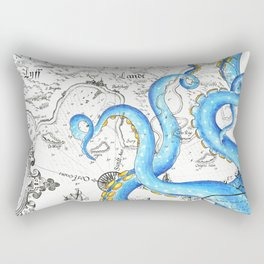 Blue Tentacles Vintage Map Ink Chic Rectangular Pillow