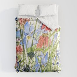 Botanical Garden Wildflowers and Bees Comforters