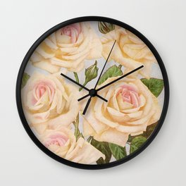 Vintage White Rose Painting (1920) Wall Clock