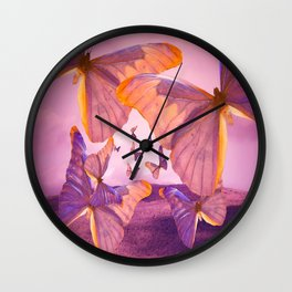 Butterflies In Flight - Pink And Purple Illustration #decor #society6 Wall Clock