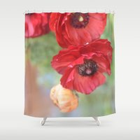 ruby Shower Curtains featuring Ruby by Lisa Argyropoulos