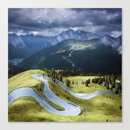 Winding road in a mountains Canvas Print
