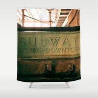 subway Shower Curtains featuring Subway by Kimball Gray