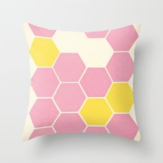 Pink Honeycomb Throw Pillow