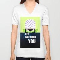 jojo V-neck T-shirts featuring Mojo Jojo Propaganda  by ArielPerrenot