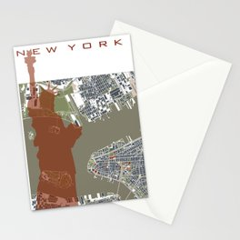 New York city map engraving liberty Stationery Cards