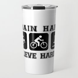 Triathlon Train Hard Gift Travel Mug