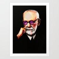 freud Art Prints featuring Freud by Mataveli Carta