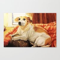 jack russell Canvas Prints featuring Jack Russell by Good Artitude
