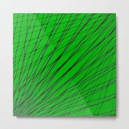 Rays of green light with mirrored dark waves on dark. Metal Print