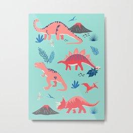 Jurassic Dinosaurs in Coral + Aqua Metal Print
