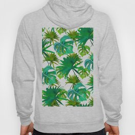 Abstract hand painted forest green watercolor tropical leaves Hoody