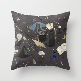 Witch's things Throw Pillow