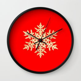 Snowflake in a Red Field Gift Wall Clock