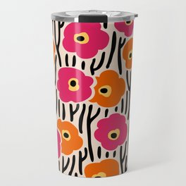 Mid Century Modern Wild Flowers Pattern Pink and Orange Travel Mug