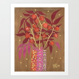 Chinese Lanterns, Physalis, Paper Collage Papercut Autumn Flowers Abstract Floral Art Print