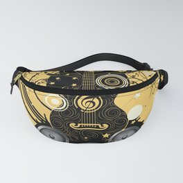 Retro geometric music themed design with guitar tree Fanny Pack