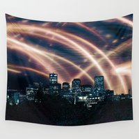 denver Wall Tapestries featuring Colorful Colorado: Denver Skyline 2 by Max Rowe Art