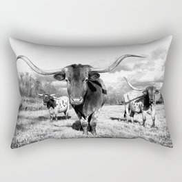 Longhorn Cattle Black and White Highland Cows  Rectangular Pillow
