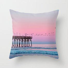 Beach Birds Sunset  Throw Pillow