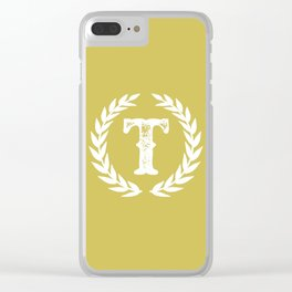 Mustard Yellow Monogram: Letter T Clear iPhone Case