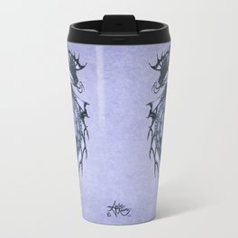 """Tsunami"" by Amber Marine ~ Sea Dragon (Amethyst Version) ~ Graphite Illustration, (Copyright 2005) Travel Mug"