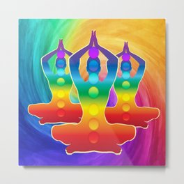 TRIPLE Om Meditation Mantra Chanting DESIGN Metal Print