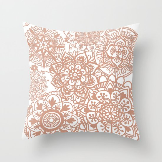 rose gold mandala pattern throw pillow