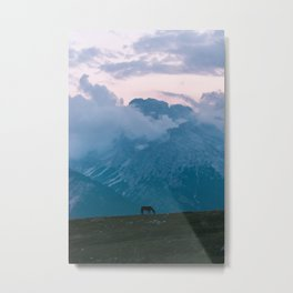Mountain Sunset Horse - Landscape Wildlife Photography Metal Print
