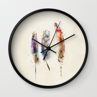 feathers Wall Clocks featuring feathers by bri.buckley