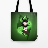 maleficent Tote Bags featuring Maleficent by Pendientera