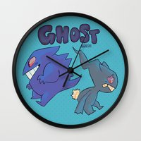 gengar Wall Clocks featuring PRESS START-  Gengar and Banette by Dampho