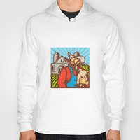 piglet Hoodies featuring Pig Farmer Holding Piglet Barn Retro by patrimonio