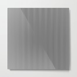 Vertical Stripes in Black and White Metal Print