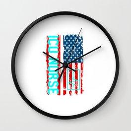 ICU Nurse American Flag Wall Clock