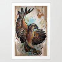 hawk Art Prints featuring Hawk by ChaniMurat