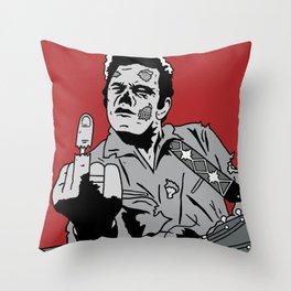 Johnny Cash Zombie Portrait Giving the Finger Print Throw Pillow