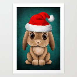 Cute Floppy Eared Baby Bunny Wearing a Santa Hat Blue Art Print