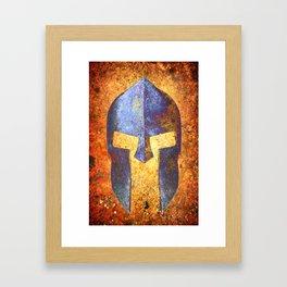 Blue Spartan Helmet On Rust Background - Molon Labe Framed Art Print