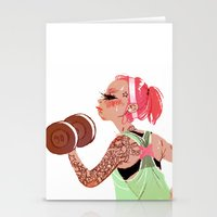 workout Stationery Cards featuring Workout Girl by TCFischer
