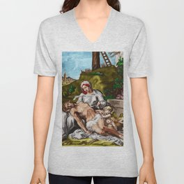 """And so it is"" - The Death of Jesus Landscape Painting by Jeanpaul Ferro Unisex V-Neck"