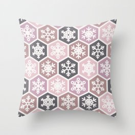 Pink and Black Nordic Snowflake Christmas Honeycomb Pattern Throw Pillow