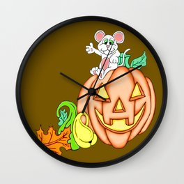 Fall Time Fun Mouse and Pumpkin Wall Clock