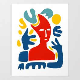 Red Man With Blue Arms and Abstract Minimal Shapes Art  Art Print