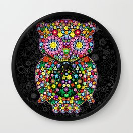 Owl Zentangle Floral   Wall Clock