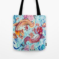 koi fish Tote Bags featuring Koi Fish by Art by Risa Oram