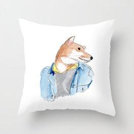 stylish Shibainu dog in jeans jacket Throw Pillow